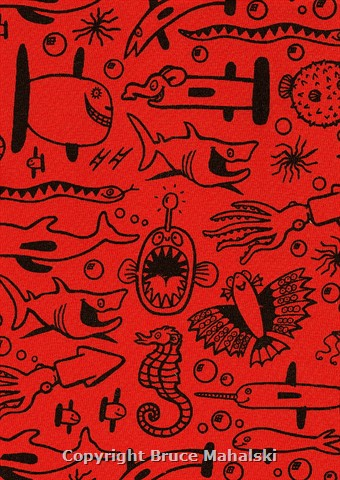 Red Underwater Animals Print