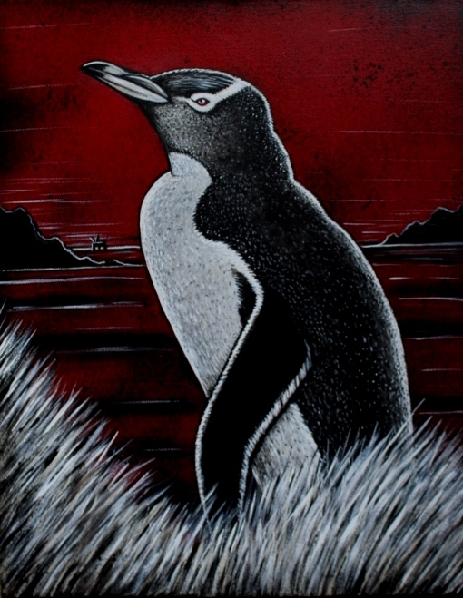 Yellow-eyed Penguin on a red background (2017)